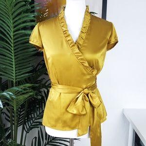 Ann Taylor Gold / Olive Wrap Satin Ruffle Blouse 6